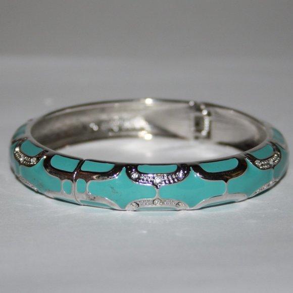 Silver and teal hinge bangle bracelet